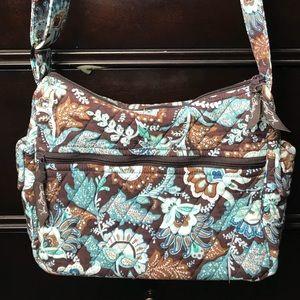 Vera Bradley Java Blue & Brown floral quilt purse